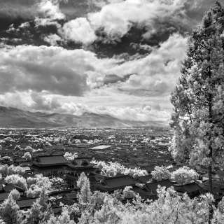 greyscale infrared: old town of Lijiang with Mufu (palace)