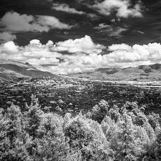 black-and-white infrared photograph of the old town of Lijiang, China
