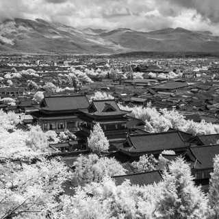 infrared photo of Mufu palace, Lijiang, Yunnan, China