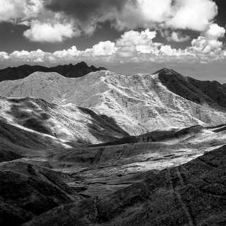 view from the Lajishan mountain pass, Qinghai province, China, of the mountain scenery in infrared