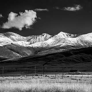 snow covered mountain range south of Qinghai lake in infrared