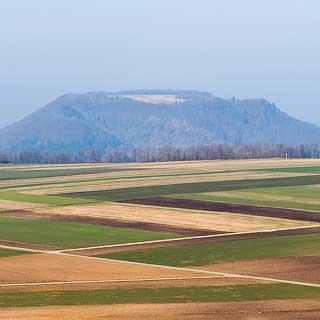 Blick über Felder auf der Albfläche zum Farrenberg