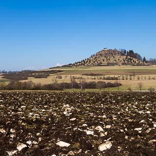 Blick über steinigen Acker zur Salmendinger Kapelle auf dem Kornbühl auf der Schwäbischen Alb