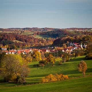 Münsingen-Rietheim in autumn, a village on the Schwäbische Alb