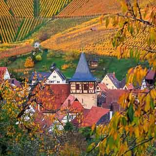 Weinstadt Strümpfelbach with vineyards in autumn