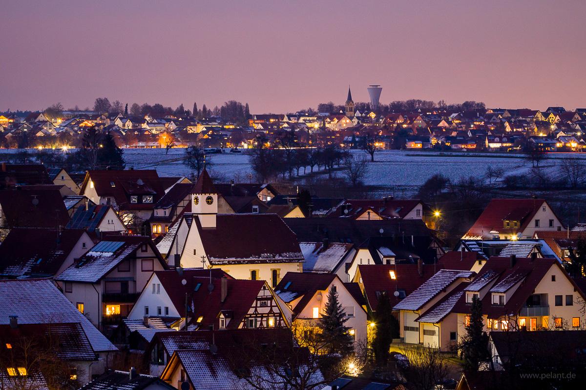 the village Pliezhausen-Dörnach at dusk in winter
