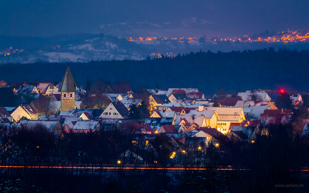 Walddorf at dusk in winter